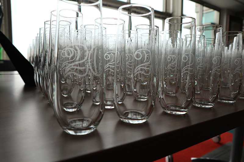 Photo of glassware etched with 20 Years