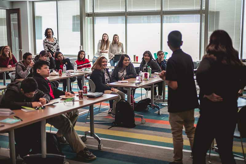 audience in a team meeting