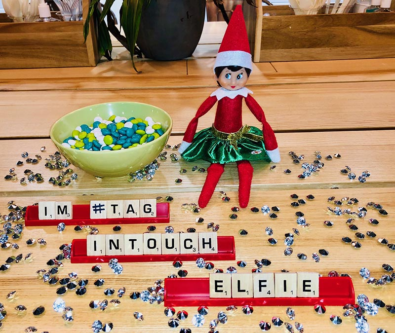 Elf on the shelf with Scrabble game