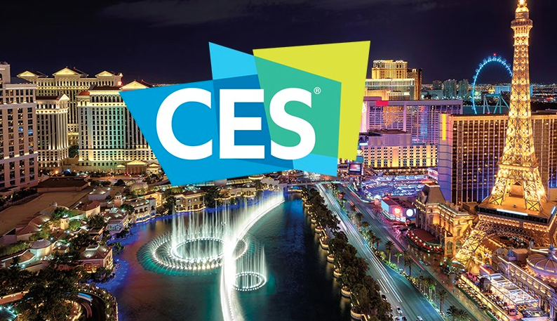 """Image showing """"CES"""" on top of photo of Las Vegas skyline"""