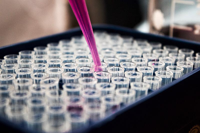 Image of lab tech's hand dropping liquid into test tubes