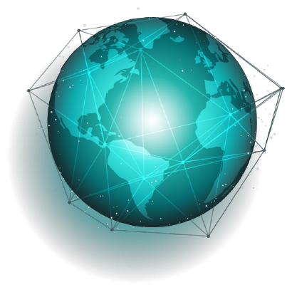 Globe with network of lines