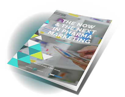 Mockup of the Now & The Next in Pharma Marketing white paper