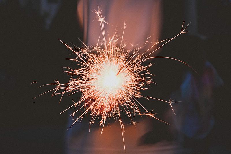 Photo showing a sparkler firework