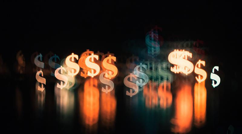 glowing dollar signs