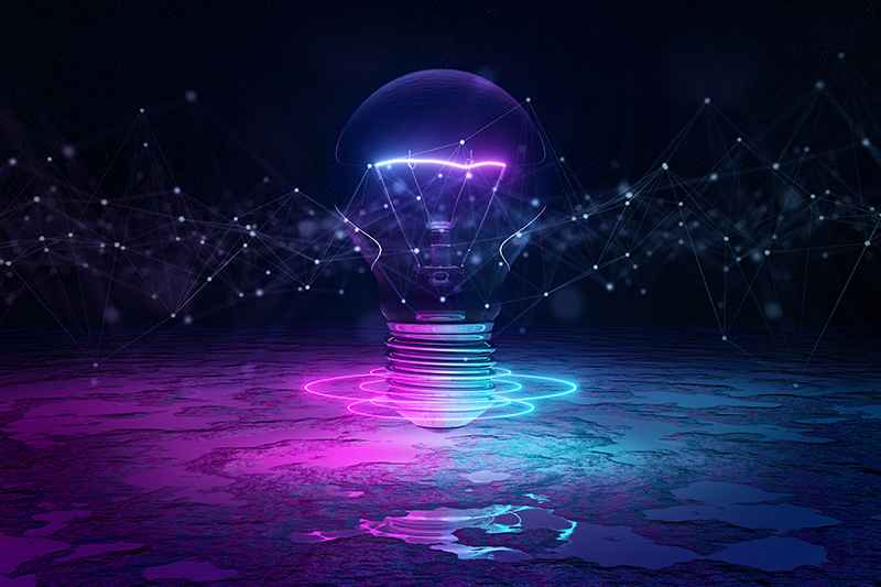 lightbulb glowing purple and blue