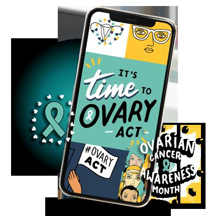 Smartphone with OvaryAct on screen