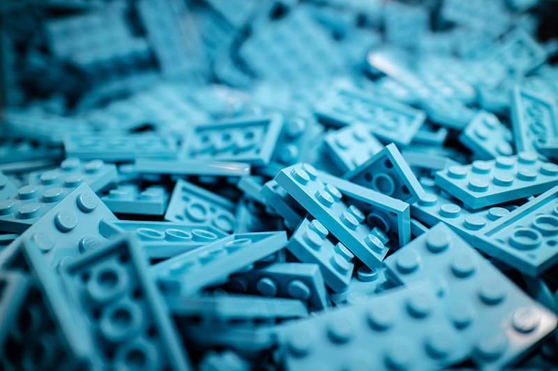 Image of light blue Lego pieces