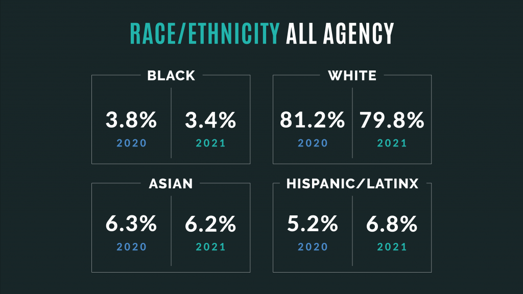 Graphic reads Race/Ethnicity All Agency