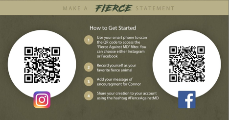 Image showing QR codes and instructions for using the Fierce app via Instagram or Facebook