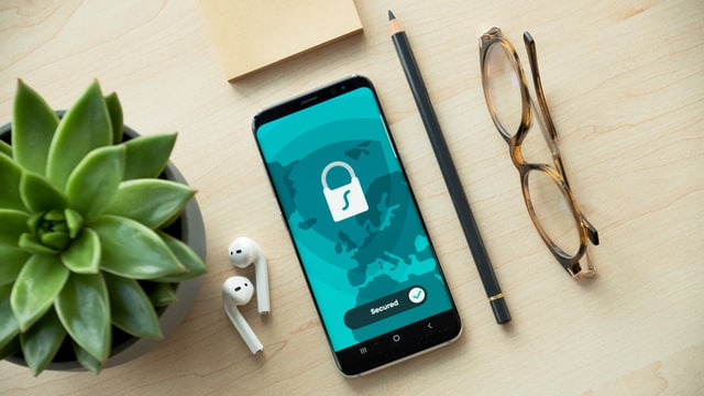 Smart phone showing lock on screen to indicate security